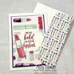 Best Dressed Designer Paper Note Card featuring Dressed to Impress stamp set and die bundle. Purses, shoes, lipstick, perfume and flowers.. how perfect for a Mother