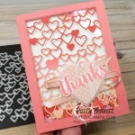 Detailed Hearts die #151440 from Stampin Up - shaker card idea featuring ombre sponged cardstock. www.PattyStamps.com