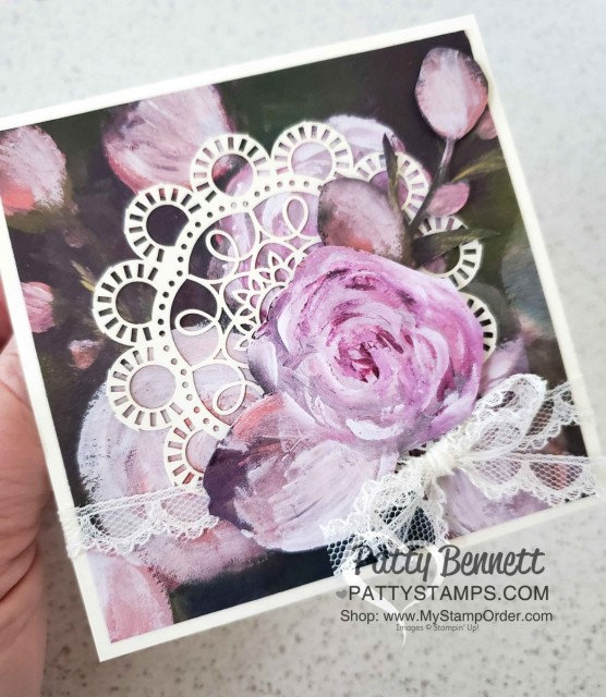 Laser-cut card from Stampin Up featuring Perennial Essence designer paper, by Patty Bennett www.PattyStamps.com