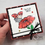 Little Ladybug Shaker Card idea with Stampin UP hostess set and Peaceful Poppy sequins! Colored with Stampin