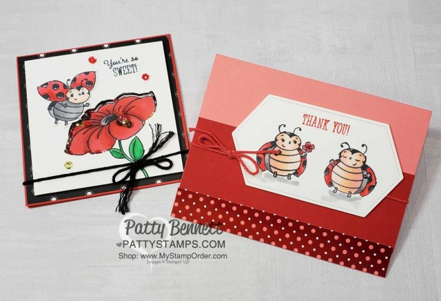 Little Ladybug Shaker Card idea with Stampin UP hostess set and Peaceful Poppy sequins! Colored with Stampin' Blends by Patty Bennett www.PattyStamps.com