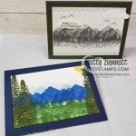 Mountain Air bundle reversible stamps card ideas with Majestic Mountain dies. www.PattyStamps.com
