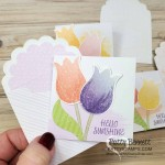 Stampin Up limited time offer Pleased as Punch designer paper pack, 3x3 Best Dressed mini cards with Tulip Builder punch!! by Patty Bennett www.PattyStamps.com