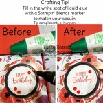 Craft Tip for Sequins! Color the dried glue that shows thru the center of the sequin with a matching Stampin