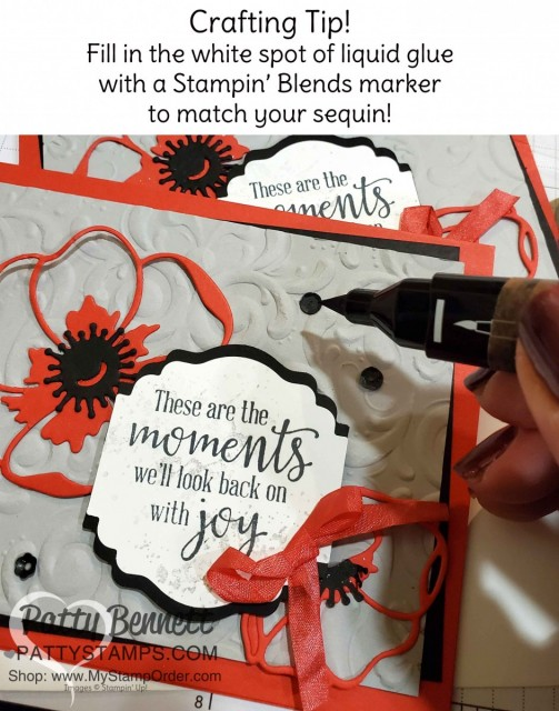 Craft Tip for Sequins! Color the dried glue that shows thru the center of the sequin with a matching Stampin' Blends marker!! compliments of Kurstan!