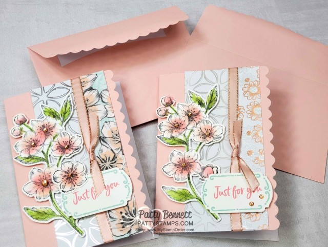 Scalloped Note Card featuring Stampin Up Flowering Foils Sale-a-Bration designer paper and Forever Blossoms cherry blossom stamp. Tags in Bloom greeting punched with Label me Fancy punch. www.PattyStamps.com