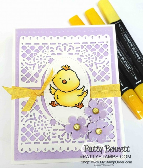 Welcome Easter stamp set card idea featuring the Jubilee Beauty dies and So Very Vellum Sale-a-Bration gift from Stampin' Up!. www.pattystamps.com