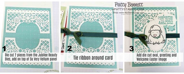 How to make the Welcome Easter stamp cards featuring the Jubilee Beauty dies and So Very Vellum Sale-a-Bration gift from Stampin' Up!. www.pattystamps.com