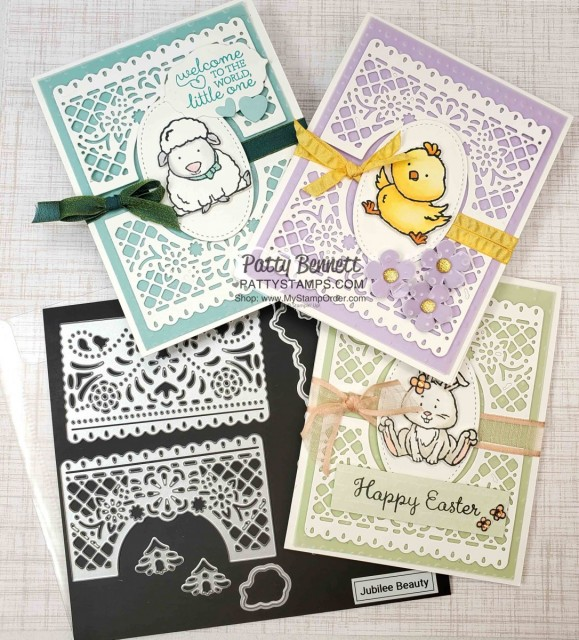 Welcome Easter stamp set card ideas featuring the Jubilee Beauty dies and So Very Vellum Sale-a-Bration gift from Stampin' Up!. www.pattystamps.com