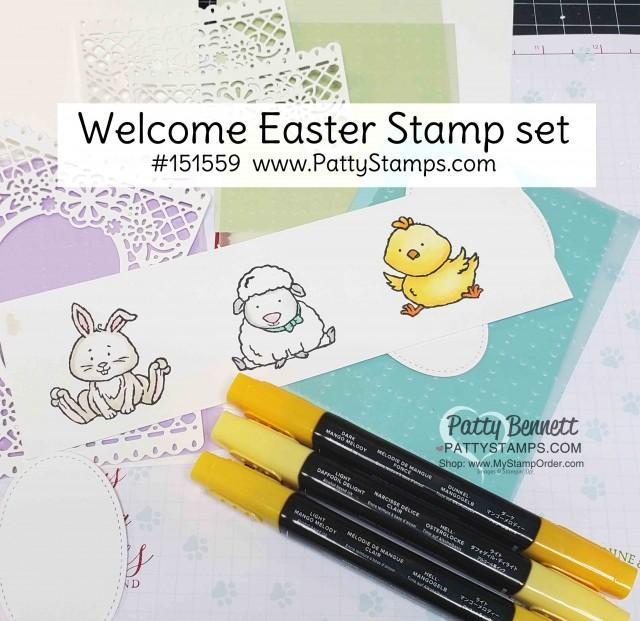 Welcome Easter stamp set colored with Stampin' Blends markers from Stampin' Up!. www.pattystamps.com