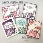 Lasting Elegance dies card ideas featuring Stampin Up Sale-a-Bration Lily Impressions DSP behind the die cut openings. So Sentimental Bundle greetings and die cut labels. www.PattyStamps.com