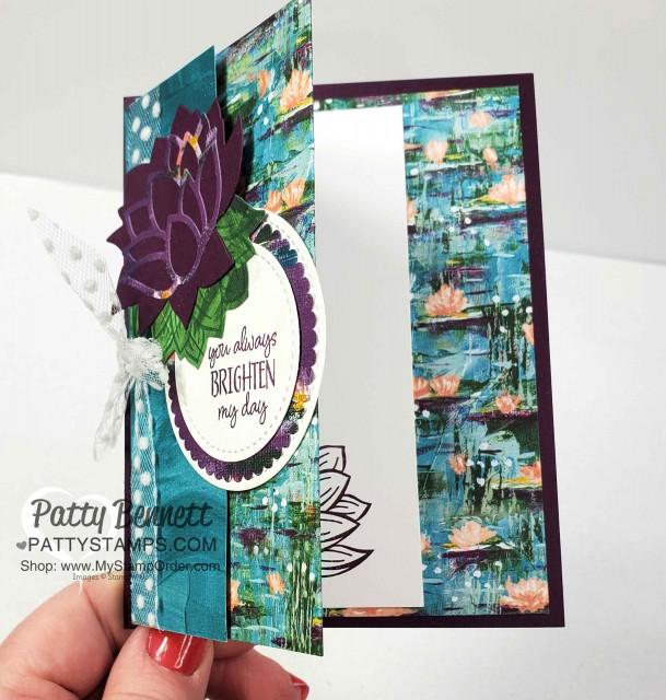 Lily Impressions Sale-a-Bration designer paper fun fold card idea - Patty Bennett www.PattyStamps.com