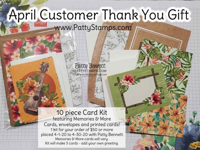 Memories & More card kit - April 2010 Thank You Gift from Patty Bennett for online orders. www.PattyStamps.com
