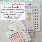 March 2020 Customer Thank You Gift from Patty Bennett for Stampin UP orders in my online store. www.PattyStamps.com