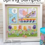 Spring Sampler - 12x12 - featuring Stampin Up Pleased as Punch designer paper, Umbrella punch, heart punch, Small Bloom Punch, Under my Umbrella set and lined alphabet. www.PattyStamps.com