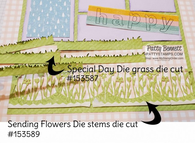 Spring Sampler - 12x12 - featuring Stampin Up Pleased as Punch designer paper, Special Day dies and Sending Flowers die for grass. www.PattyStamps.com