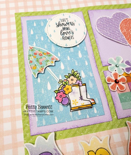 Spring Sampler - 12x12 - featuring Stampin Up Pleased as Punch designer paper, Under my Umbrella set and punch, heart punch, Small Bloom Punch www.PattyStamps.com