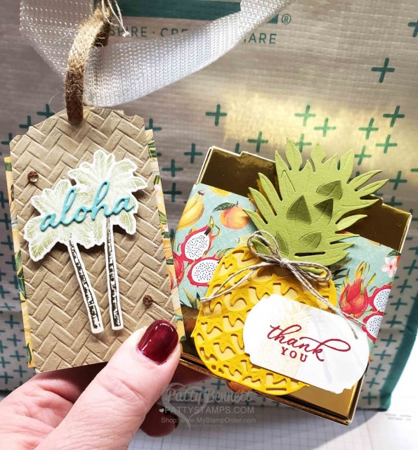 Stampin Up Tropical Oasis Palm Tree and Pineapple party favor ideas! Great for decoration for tropical theme party! www.PattyStamps.com