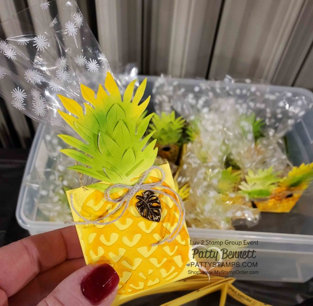 Stampin Up Tropical Oasis Pineapple party favor ideas! Great for decoration for tropical theme party! www.PattyStamps.com
