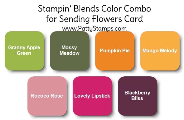 Color Combo for Square Card featuring Stampin Up Sending Flowers dies and Honey Bee stamp set. Flowers colored with Stampin Blends markers. www.PattyStamps.com