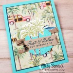Tropical Oasis Designer Paper card idea featuring the Stampin Up Coastal Weave embossing folder and Timeless Tropical bundle. www.PattyStamps.com