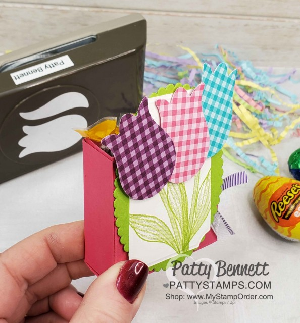 DIY Spring / Easter basket idea featuring Stampin Up Tulip Builder punch and Timeless Tulips stamp set. www.PattyStamps.com