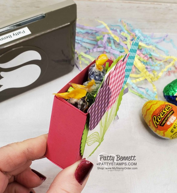 DIY Spring / Easter basket box idea featuring Stampin Up Tulip Builder punch and Timeless Tulips stamp set. www.PattyStamps.com