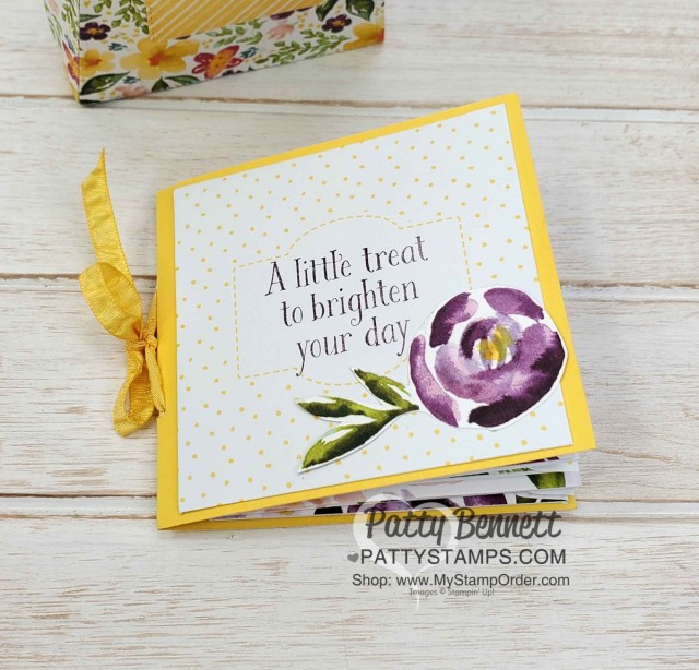DIY cute Mini Book for friendship, encouragement, thinking of you, birthday or Mother's Day with Stampin' UP! Best Dressed designer paper, by Patty Bennett www.PattyStamps.com