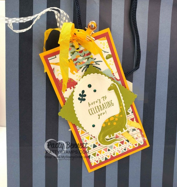 Dinoroar Birthday Card and matching Bag Tag featuring Stampin' Up! designer paper. www.PattyStamps.com