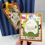 Dinoroar Birthday Card and matching Bag Tag featuring Stampin