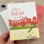 Ornate Garden Suite: Ornate Floral embossing folder #152725 Thank you card idea featuring Ornate Border dies. www.PattyStamps.com