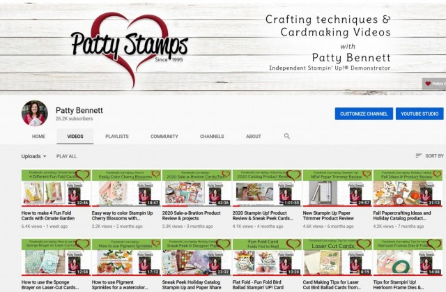 Find Patty Bennett's Stampin Up card making and technique video tutorials on YouTube www.PattyStamps.com
