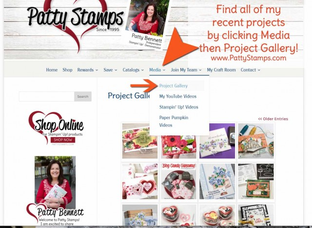 Easy Way to find Patty's Projects: click on Media then Gallery on my blog www.PattyStamps.com