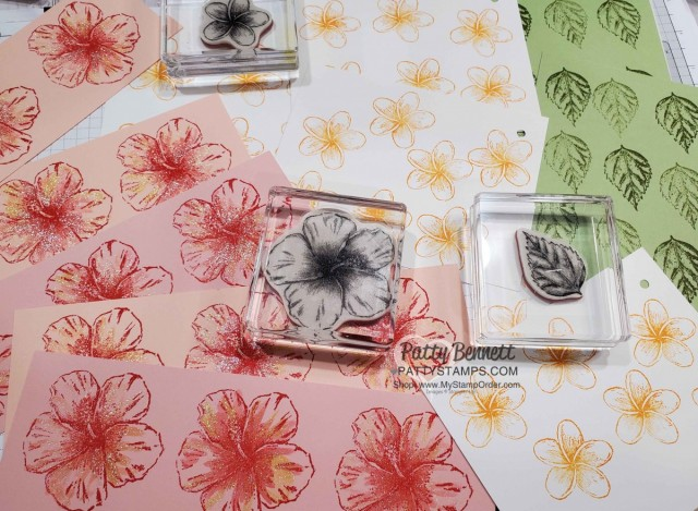 Stampin Up Timeless Tropical hibiscus flower watercolored with Wink of Stella and ink refills by Patty Bennett. www.PattyStamps.com
