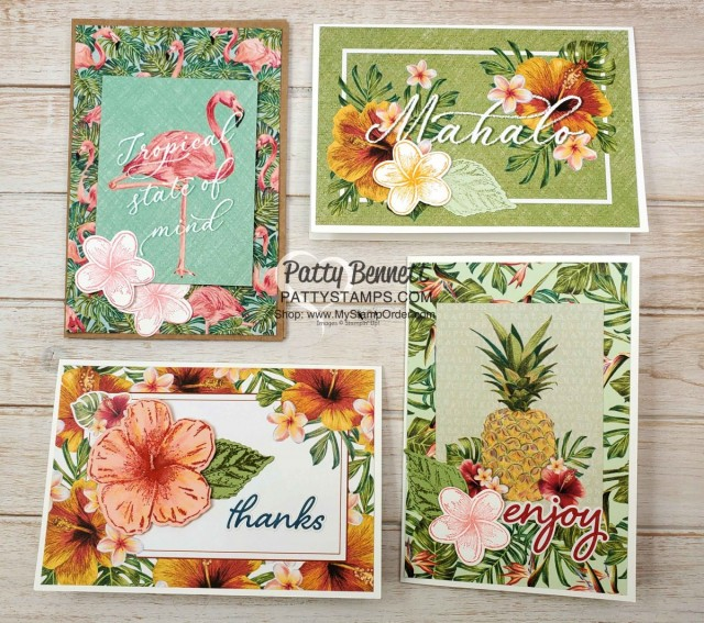 Tropical Oasis Memories & More card ideas featuring Stampin Up Timeless Tropical hibiscus flower watercolored with Wink of Stella. www.PattyStamps.com