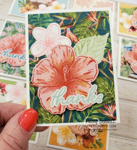 Handmade card idea featuring Tropical Oasis Memories & More cards with Stampin Up Timeless Tropical hibiscus flower watercolored with Wink of Stella. www.PattyStamps.com