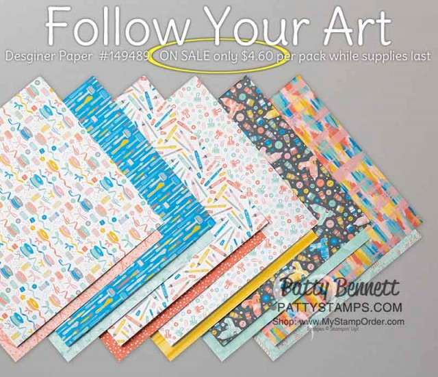 Follow Your Art card making paper for crafters ON SALE while supplies last on the Stampin' UP! retiring list #149489 www.PattyStamps.com