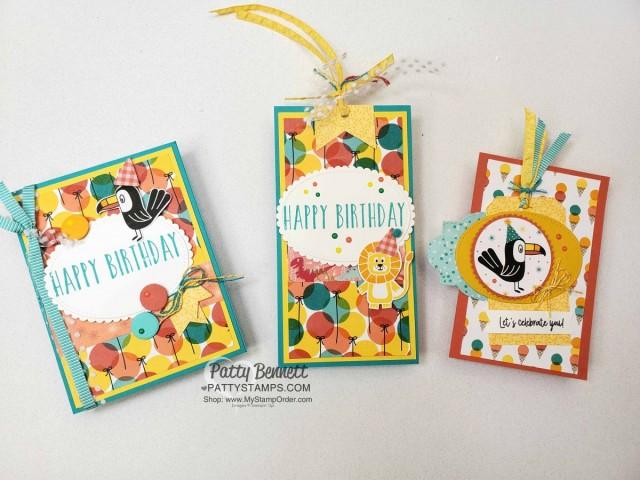 Birthday Bonanza Stampin' Up! designer paper birthday gift bag tag and matching birthday card idea. www.PattyStamps.com