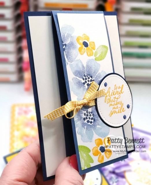 Blossoms in Bloom stamp set from Stampin Up #152684 stamped with the Stamparatus with ink pads and sponge daubers. cards by Patty Bennett www.PattyStamps.com