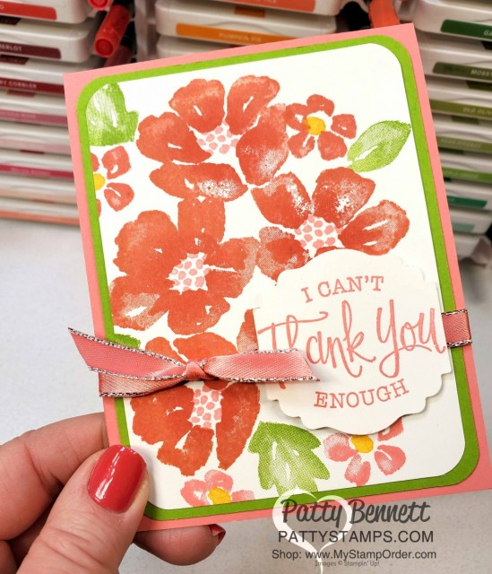 Blossoms in Bloom stamp set from Stampin Up #152684 stamped with the Stamparatus with Calypso Coral ink pads and Poppy Parade ink on sponge daubers. card idea by Patty Bennett www.PattyStamps.com