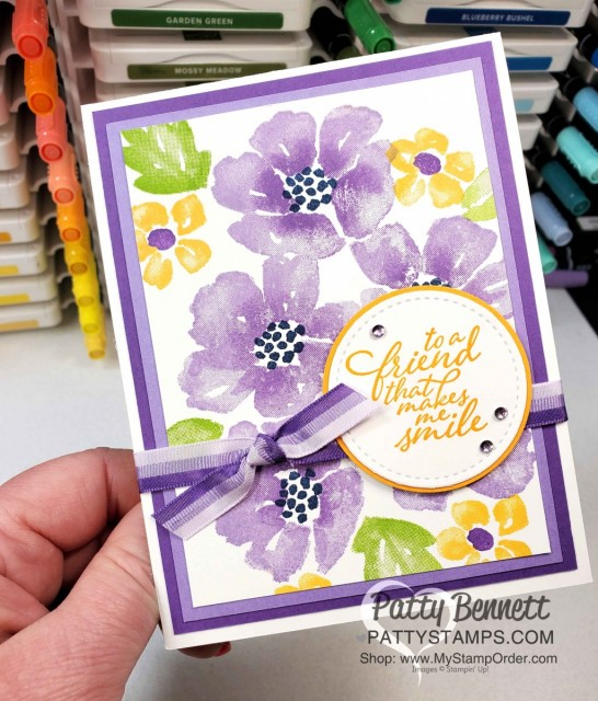 Blossoms in Bloom stamp set from Stampin Up #152684 stamped with the Stamparatus with Highland Heather ink pads and Gorgeous Grape ink on sponge daubers. card idea by Patty Bennett www.PattyStamps.com