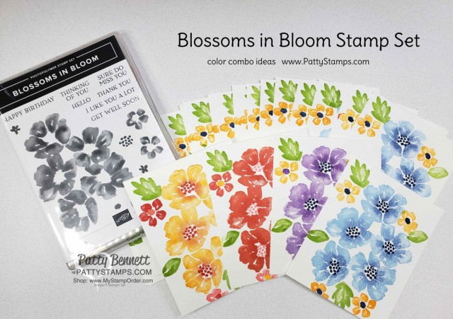 Color Combo Ideas for the Blossoms in Bloom Stampin Up stamp set #152684, cards by Patty Bennett www.PattyStamps.com