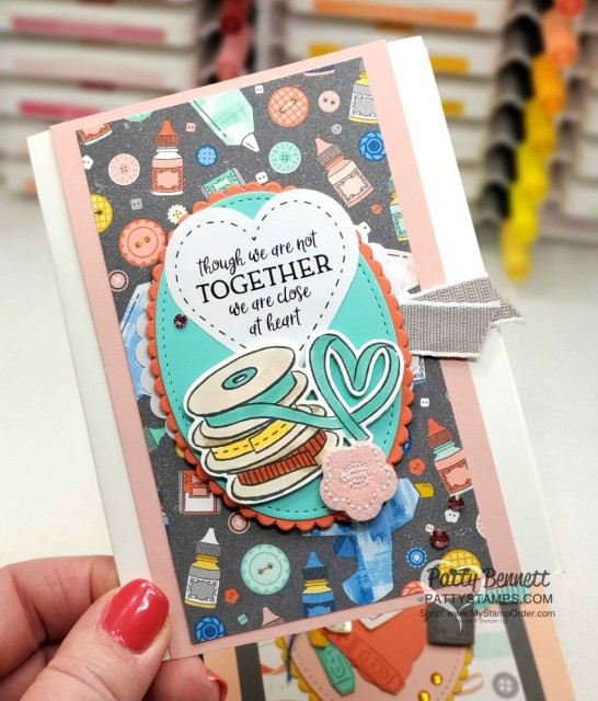 Stampin Up printable digital download set with greetings and images relevant to COVID-19 shelter in place guidelines. Card idea featuring Follow Your Art DSP by Patty Bennett www.PattyStamps.com