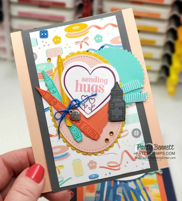 Stampin Up printable digital download set with greetings and images relevant to COVID-19 shelter in place guidelines. Card idea featuring heart punch and Follow Your Art DSP by Patty Bennett www.PattyStamps.com