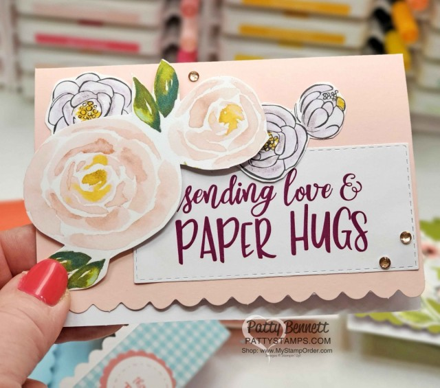 Paper Hugs Scalloped Note Card featuring COVID-19 Giveback Stampin' Up! download with digital stamp set is packed with both lighthearted and thoughtful sentiments and imagery relevant to the unique COVID-19 and social distancing situation we are currently in. Stampin' UP! is donating all proceeds.
