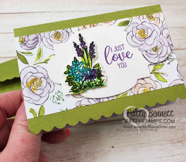 Grace's Garden Stampin Up set Scalloped Note Card idea by Patty Bennett featuring Best Dressed designer paper www.PattyStamps.com