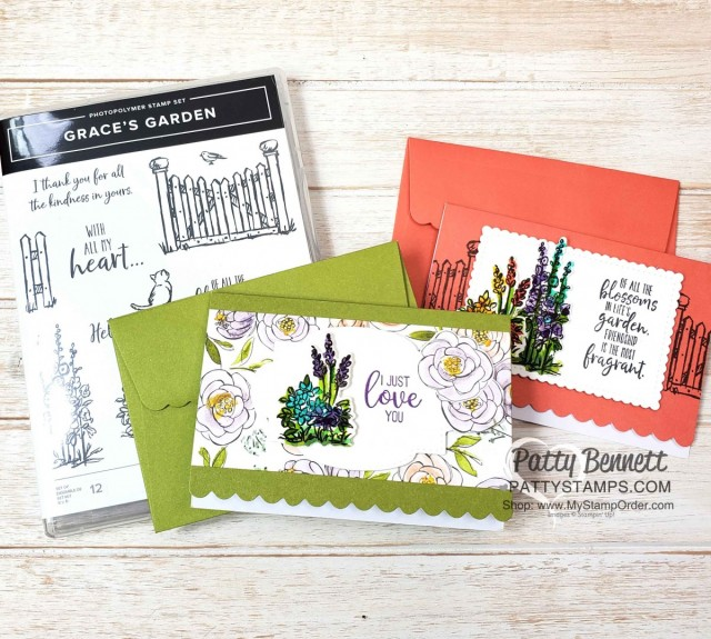 Grace's Garden Stampin Up set Scalloped Note Card ideas by Patty Bennett featuring Best Dressed designer paper www.PattyStamps.com