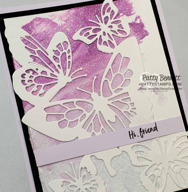 Stampin Up Shimmery White Embossing Paste background, colored with ink refills / reinker color, then spread on cardstock. Butterfly Beauty die cut on top. www.PattyStamps.com