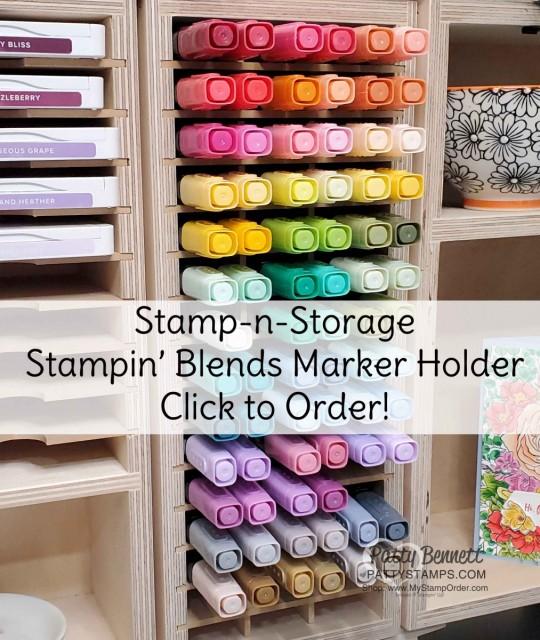 Stampin' Blends marker holder from Stamp-n-Storage. Great Craft Room Storage Solution! www.PattyStamps.com