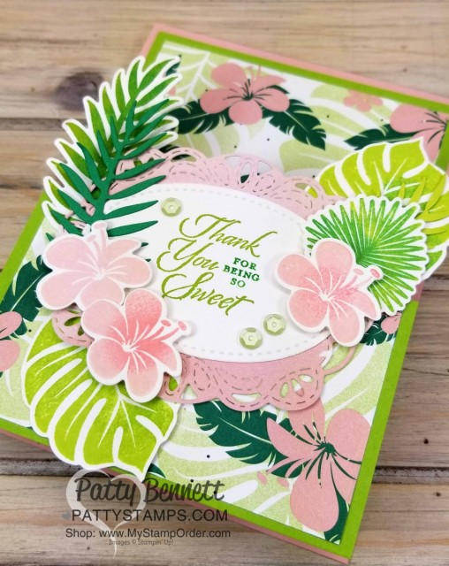Tropical Chic Fun Fold Easel card featuring Stampin' Up! Tropical Chic leaf and flower stamps and dies. www.PattyStamps.com